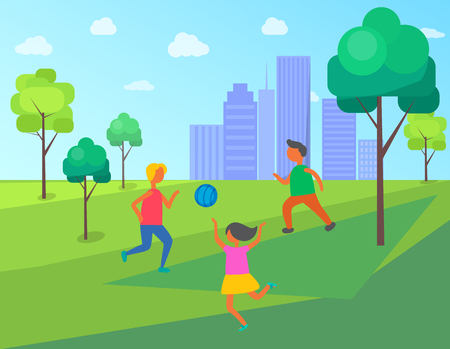 Kids playing in city park vector, children with inflatable ball. Jumping and running child, buildings skyscrapers of big town, park with trees and grass Illustration
