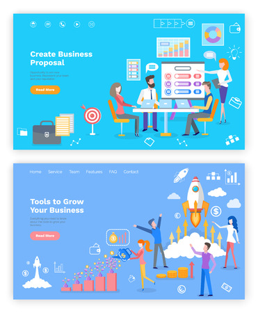 Proposal and tools to grow business online webpage vector. Illustration