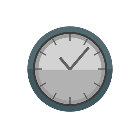Clock with hands and lines vector, time measuring machine isolated icon. Illustration