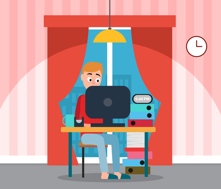 Programmer at home working on computer vector. Home interior with curtains and window view on city, lamp and clock.