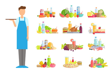 Serving man, waiter wearing apron vector. Isolated worker, burger and chicken poultry, bottle with beverage drink, fruits and vegetables tasty meal
