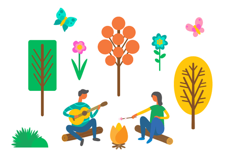 Camping travel, couple near campfire with guitar and marshmallow vector. Nature, trees and flowers, butterflies and bushes, outdoor summer activity