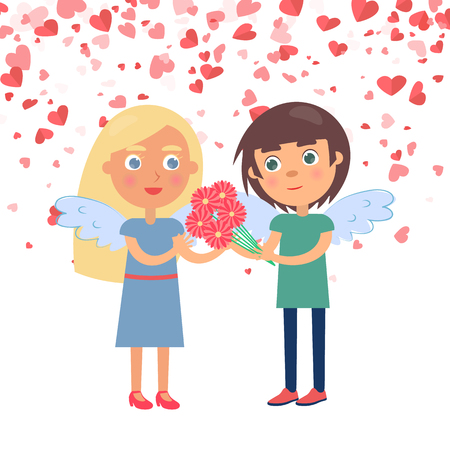 Boy making surprise for girlfriend giving bouquet. Couple with wings Valentine day, boyfriend giving flowers to girlfriend, card decorated by hearts vector