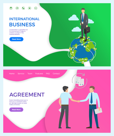 International collaboration for improvement business. Agreement, social networking allows to reach potential customers. Vector businessman shaking hands. Website, webpage template landing page in flat Ilustração