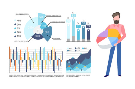 Infographics and charts vector. Businessman with pie diagram having colored sectors. Visualization of data, presentation of information in visual form Vektoros illusztráció