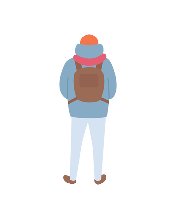 Person standing back, dressed hat and down-jacket with hoot and scarf, backpack on back, trousers and boots. Card with human in full length vector isolated