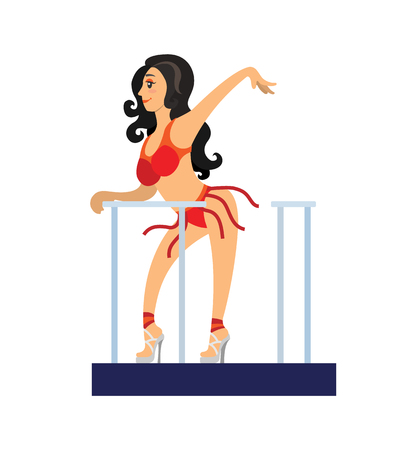 Go-go dancer on stage in beautiful red costume. Girl with long dark hair and high hills dancing in night club. Festival evening entertainment vector Illustration