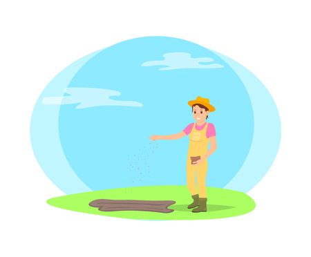 Farmer sowing seeds into garden beds cartoon vector icon. Happy woman in farming uniform, and hat with bag of grain in hand throwing kernels in ground Illustration