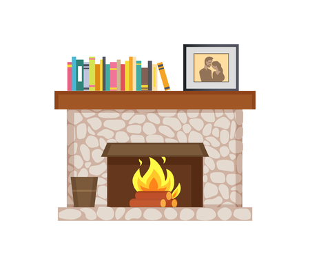 Fireplace with shelf and books, framed photo interior vector. Publications and bucket for ashes, burning logs, wooden material, picture of couple family Illusztráció