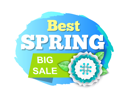 Best spring big sale discounts on products isolated icon vector. Flora blooming, ribbons with promotional text and flower with petals and leaves spring 스톡 콘텐츠 - 125255253