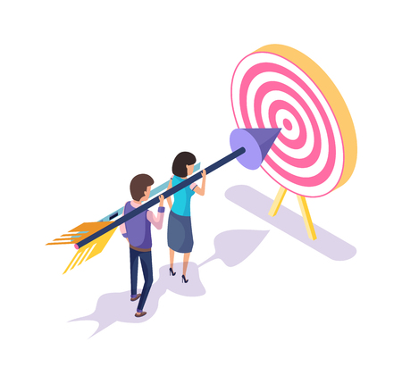 People working in team, achieving target and success vector. Teamwork, man and woman working on successful completion of task, holding arrow, aim on board