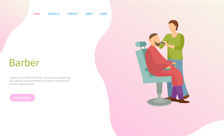 Barber service vector, man on chair and barbershop master. Illustration