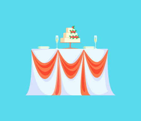 Restaurant table with wedding cake for celebration vector. Isolated icon of meal to celebrate engagement, ribbons on tablecloth and empty glasses Illustration
