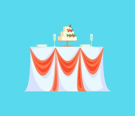 Table de restaurant avec gâteau de mariage pour vecteur de célébration. Icône isolée de repas pour célébrer les fiançailles, rubans sur nappe et verres vides
