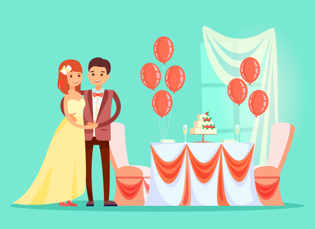 Celebration of wedding vector, marriage ceremony reception. Ilustrace