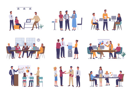 Trabajo en equipo o formación de equipos, vector de reunión de negocios de oficina. Conferencia y lluvia de ideas, informe anual y gráficos estadísticos, discusión y planificación en estilo plano