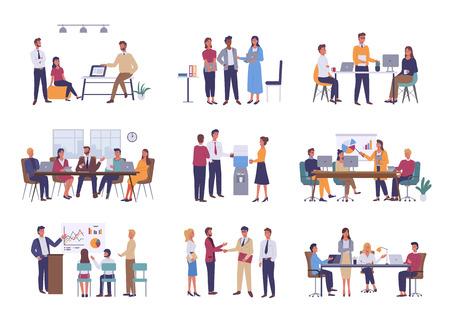Travail d'équipe ou renforcement d'équipe, vecteur de réunion d'affaires de bureau. Conférence et brainstorming, rapport annuel et graphiques statistiques, discussion et planification dans un style plat