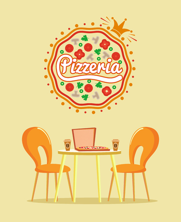 Pizzeria restaurant vector, cooked pizza in paper box with coffee in plastic cup. Dinner at bistro cafe, good quality of Italian recipe, desk and chair Illustration