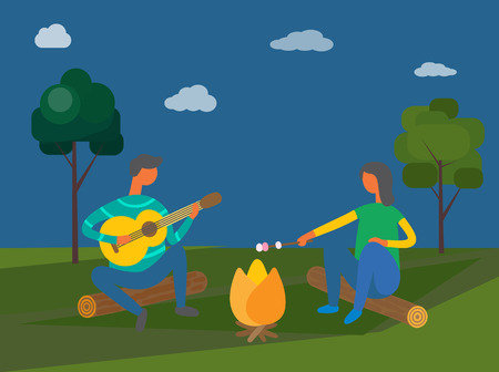 Camping in evening vector, people sitting by bonfire. Man playing guitar, guitar player male and woman holding stick with marshmallow, melting food Illusztráció