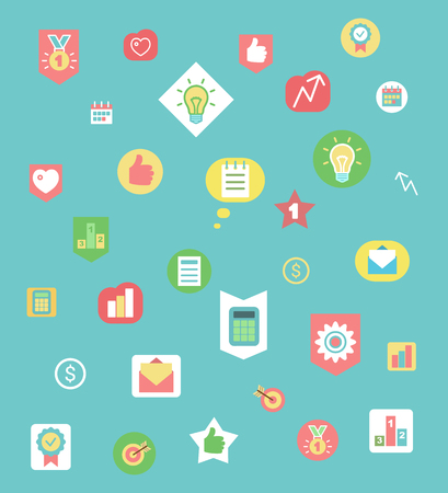 Business icons pattern, work items and graphics vector. Ilustrace
