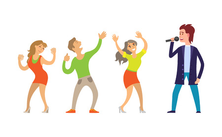 Musician giving performance for people dancing on music vector.