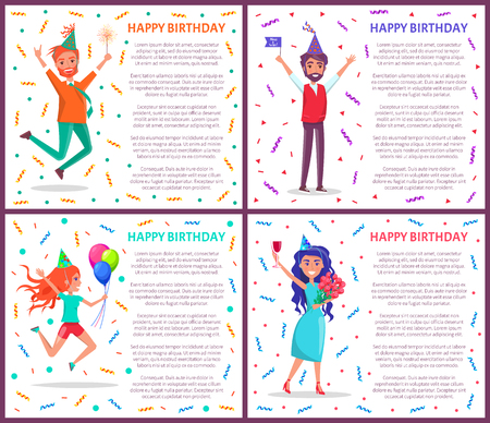 Happy birthday people on party vector, man and woman celebrating, text poster. Male holding flag, lad with inflatable balloons, wine and roses bouquet
