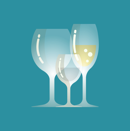 Champagne and water poured in glass vector, served liquids isolated icon. Restaurant sparkling alcoholic beverage, serving of alcohol on special occasion Reklamní fotografie - 125255265