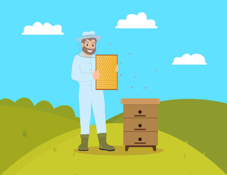 Beekeeper beekeeping man wearing gloves and mask. Farmer male holding honeycomb and tending bees. Rural worker, apiculturist on fields hill vector Illustration
