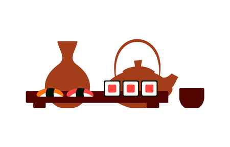 Japanese restaurant table setting, sushi and rolls. tea and sake vector. Clay teapot and cup, vase and wooden tray, food and drink of Japan isolated icon