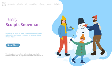 Family sculpts snowman, father and mother with kid holding branch vector. Banco de Imagens - 117269856