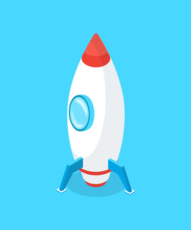 Launching rocket vector, business start up innovative idea isolated icon. Illustration
