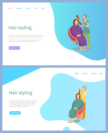Hair styling services vector, straightening and curling. Hairdresser or stylist in apron and female client, beauty service online appointment order. Website or webpage template landing page in flat 일러스트