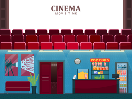 Cinema vector, movie theatre interior with sofa. Entertainment hall with seats for watching films, plant in pot, foliage decor, counter with food and snacks Banque d'images - 125255274