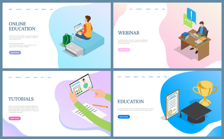 Education and tutorials, webinar web pages. Person working with laptop, using tablet.