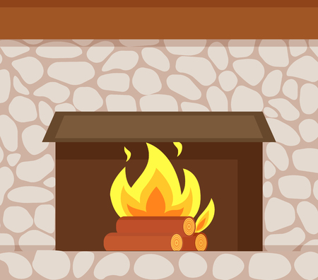 Burning fire, wooden logs and fireplace made of stone closeup vector. Flame in hearth at base of chimney, brick wall, home construction of decorative paving