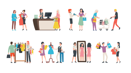 Old collection sale, fashion industry and shopping vector. Sellers and assistant managers, customers and clothes, garments and cash counter, mirror Illustration