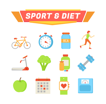 Sport and diet poster and icons set. Bicycle and treadmill exercises, apple broccoli veggie and fruit, calendar and smartwatch. Running lady vector Ilustração