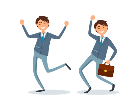 Happy workers in formal wear dancing together. Man with briefcase, successful businessman smiling vector. Senior executive, boss with case jumping