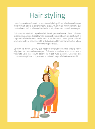 Hair styling poster with woman sitting in chair and hairdresser winds locks on curlers vector banner with text sample. Female making hairstyle in spa salon