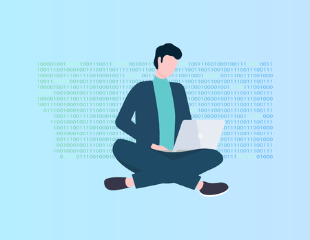 Program coding, man with laptop vector, programmer or IT specialist. Modern technologies, application development, guy in office suit with computer Vectores
