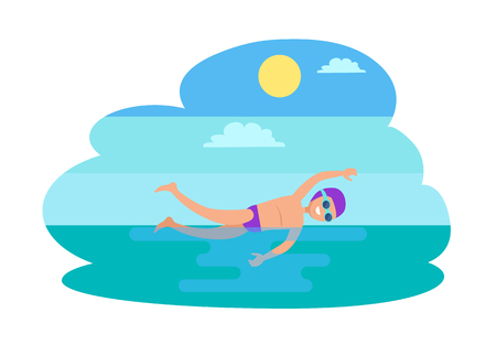 Freestyle swimming person isolated vector. Professional sportsman, man with goggles in water performing stroke practicing techniques. Sport activities