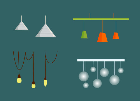 Hanging from ceiling lamps with wire, triangle and round chandelier, colorful glowing lightbulbs, electric equipment. Flat design electrolier vector