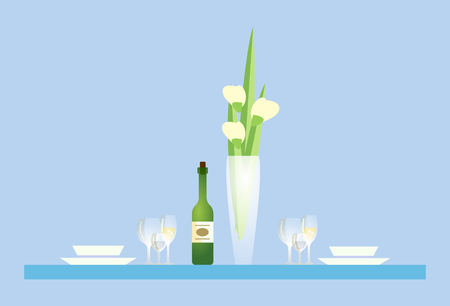 Restaurant table with vase and champagne bottle vector. Desk with tulip flowers, glasses and empty plates, romantic dinner for couple, served bowls