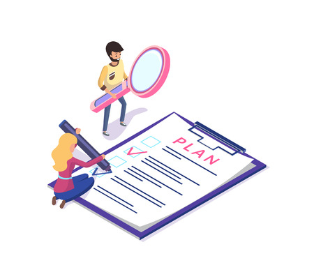 People planning and organizing working time vector. Man and woman with clipboard and magnifying glass tool achieving rapid results in business field Illustration