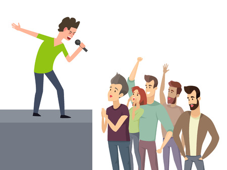 Music character performing for crowd of fan people vector. Man with mike on stage expressing talent, audience listening to male vocalist musician