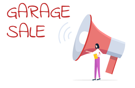 Promotion of special offer from garage sale vector. Woman and loudspeaker, person holding business plan on paper, selling of production on market trade  イラスト・ベクター素材