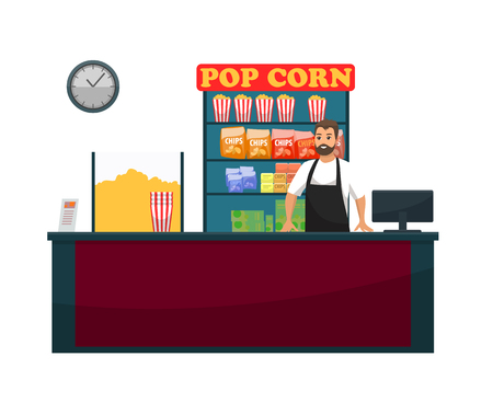 Cinema counter with seller selling food, vector, snacks and beverages. Popcorn and bottles with juice and soda, chips fried potatoes , clock and vender