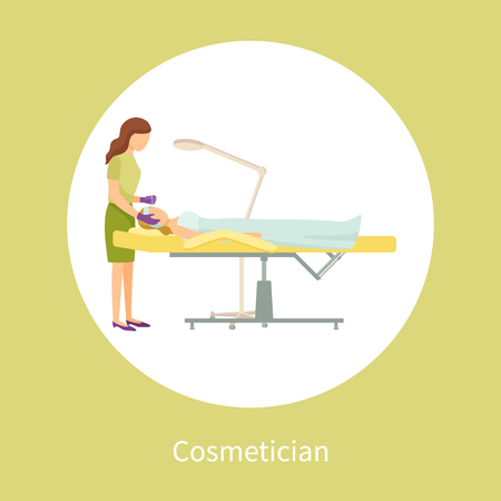 Cosmetician facial cosmetic procedures. Woman cosmetologist using tool instrument while working with clients face taking care about skin, poster in circle