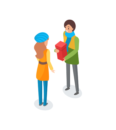 Man talking to woman and holding present in box vector. Person preparing for Christmas holidays, winter events, gifts exchanging, surprise container Illusztráció