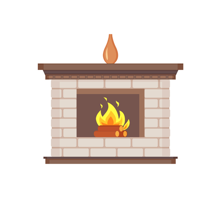Fireplace with vase standing on top isolated icon vector. Flames wooden logs burning, heating system of houses. Interior design of homes bricks decor